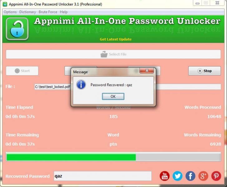 Appnimi All-In-One Password Unlocker for Windows - Password Recovered