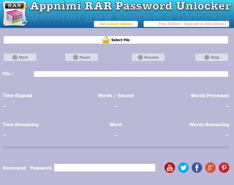 Appnimi RAR Password Unlocker - Initial Screen