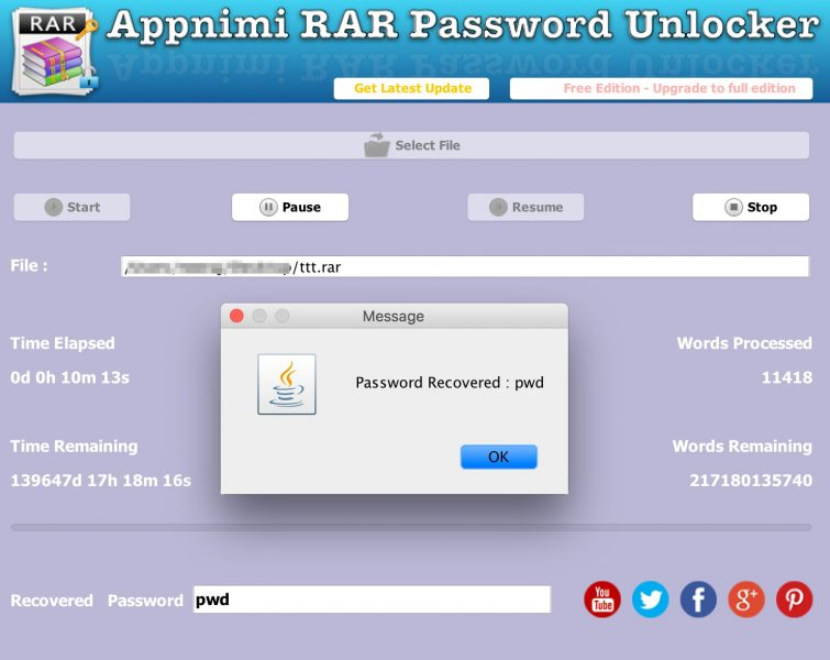 Appnimi RAR Password Unlocker - Password Recovered
